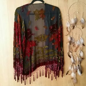 Jackets & Coats - Vintage Crushed Velvet Bead & Tassle Boho Festival